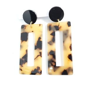 NWT Tortoise Shell Print Rectangle Dangle Earrings